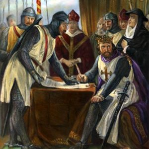 King John signing the Magna Carta.